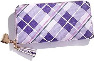 Pusaman New Women's Long Wallet, Plaid Zipper Clutch Bag (Color : Purple, Size : 19 * 9 * 3CM)