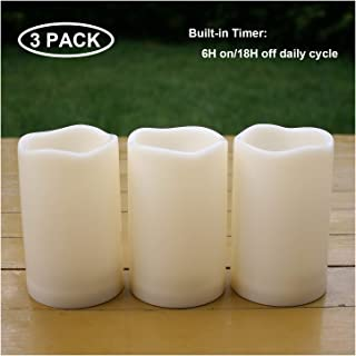 """iZAN 3PCS Waterproof Flameless LED Candles with Timer Outdoor Flickering Battery Operated Timing Pillar Candles for Home Wedding Party Festival Halloween Christmas Décor Long Lasting 1500+ Hours 3""""x5"""""""