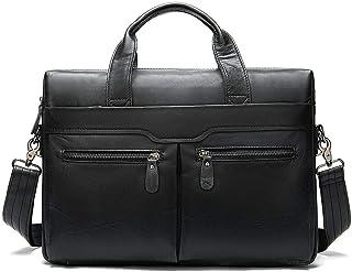 ZKS-SS Men's Handbag Shoulder Briefcase Leather Business Men's Bag Casual Top Layer Leather Shoulder Bag 14 Inch Laptop Ba...