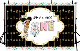 MEHOFOTO Dreamcatcher Girl Wild One Backdrop Boho Princess First Birthday Tribal Baby Girl Baby Shower Photography Background Black Pink Gold Party Invitation Decorations Cake Table Banner 7x5ft