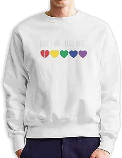 Mens Leisure Hiking Crew Neck Sweatshirt Print More Love Less Hate Sweater for Men