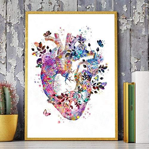 Menschliches Herz Anatomie Vintage Poster Drucke Medizin Student Geschenk Organe Kunst Aquarell Leinwand Malerei Ärzte Büro Wanddekoration 40X50CM