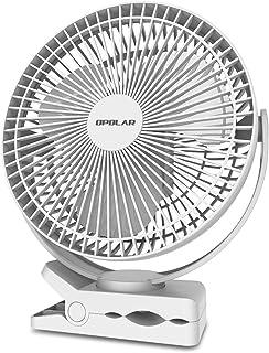 Ventilatore a Clip da 20 cm a Batteria Ricaricabile da 10000 mAh Ventilatore Alimentato Via USB per Campeggio Scrivania in Ufficio Tapis roulant Clip Portatile Robusta 4 velocit/à OPOLAR