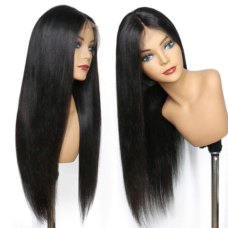 コンピュータークラッシュ依存女性レースフロントかつらブラジルのremy人間の髪の毛ストレートヘアレースかつら赤ちゃんの髪の毛のための180%密度ナチュラルブラック