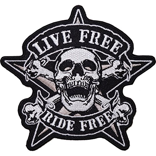 Live Free Ride Free bordado Sew hierro parche chaqueta