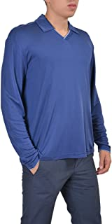 100% Silk Blue Polo Style V-Neck Men's Sweater