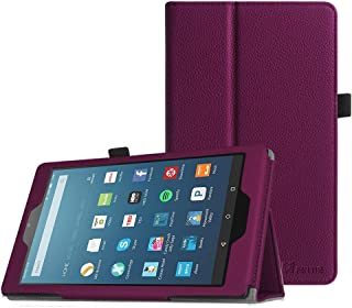 Fintie Folio Case for All-New Amazon Fire HD 8 Tablet (Compatible with 7th and 8th Generation Tablets, 2017 and 2018 Releases) - Slim Fit Premium Vegan Leather Standing Protective Cover, Purple