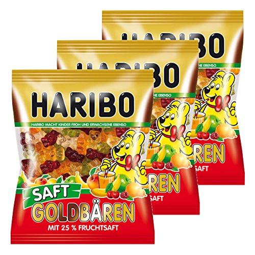 Haribo Saft Goldbären, 3er Pack, Gummibärchen, Weingummi, Fruchtgummi, Im Beutel, Tüte
