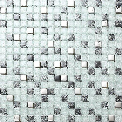 Mosaico di vetro bianco opaco, nero e argento rotto e vetro trasparente effetto (MT0078)