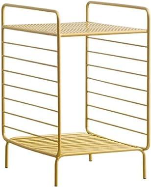 WLJBD Mesa de café, mesa lateral de mesa, mesa de centro para sala de estar, mesa de cabeceira, moldura oca de metal, mesa de