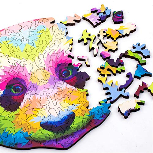 N / N Jigsaw Puzzle Wooden Thick Rainbow Panda Wooden Puzzle Toy Laser Cutting Craft Children's Puzzle 191 Pieces, Animal Shaped Jigsaw, Gifts for Mom Dad Toys, Gift for Friend
