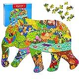 Puzzle,Rompecabezas Animales Rompecabezas,Puzzle Infantil,Puzzles de Madera con Forma,Puzzle Irregular Juguetes,Puzzles Familiares para niños,Piezas de Rompecabezas de Formas únicas (Elefante)