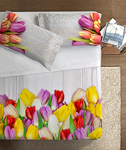 Ipersan Tulipani Parure Lenzuola Fotografico Piazzato Fine-Art, 100% Cotone, Multicolore, A Una Piazza E Mezza, 205.0x300.0x1.0 cm, 2 unità