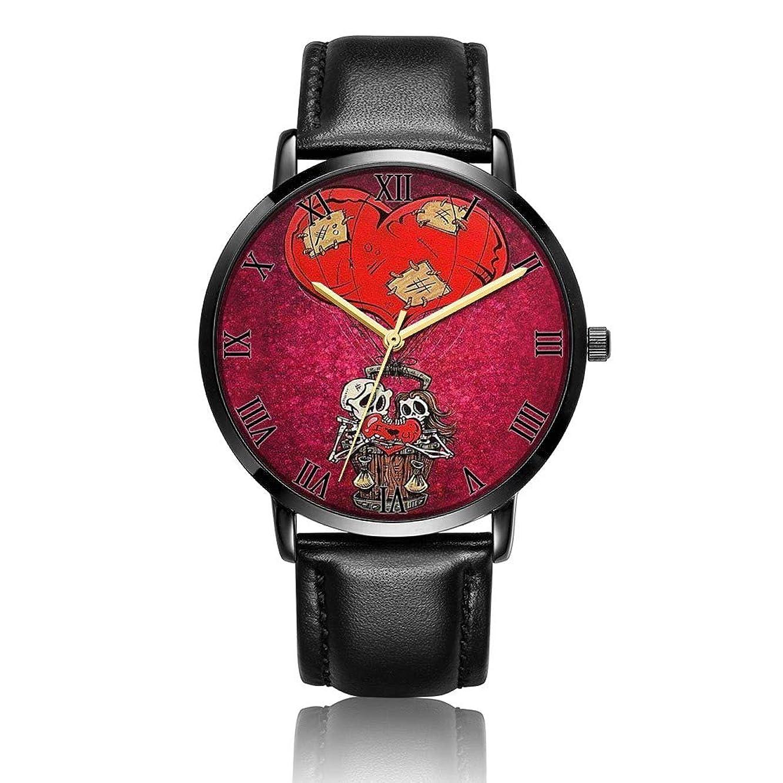 Whiterbunny Customized Skull Couple Wrist Watch Unisex Analog Quartz Fashion Black Leather Bracelet Wristwatch for Women and Men