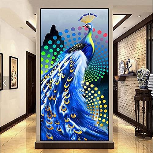 5D DIY Pintura Diamante Niños Kits, Pavo real azul Full drill Kit Arts Taladro Completo Herramientas Bricolaje Artesanía para la cuarto Decoración Pegatinas de pared Regalo 60x180cm