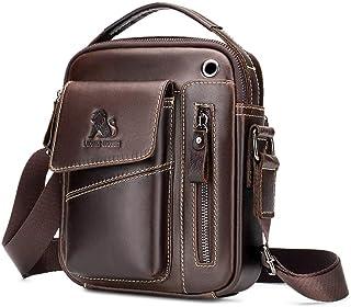 Bolso de hombro para hombre, pequeño, de piel, estilo vintage, con asa superior, estilo casual, para negocios
