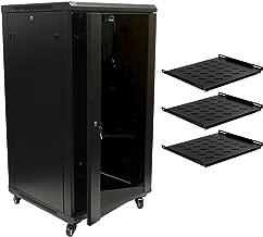 NavePoint 22U Wall Mount 24 Inch Depth Server Data Cabinet Glass Door Lock Casters and Shelves