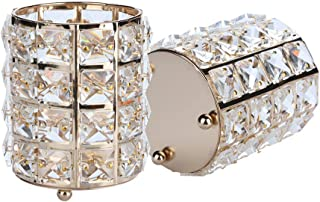 RDTIAN Cosmetic Storage Tube Pen Holder Crystal Candle Holder Wedding Lover Decoration Gold/Silver(4×4.5inch) (Gold)