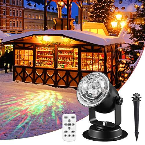 Finether LED Projektionslampe Weihnachten deko Halloween Wasserwelle Nachtlicht Projektor Lampe, LED Projektor außen mit 15 Farbwechsel und Fernbedienung | für Party und Karneval IP65