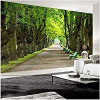 Xbwy 壁の装飾壁画カスタム壁画壁紙3Dステレオ美しい緑の木道写真壁壁画リビングルームソファ背景-400X280Cm