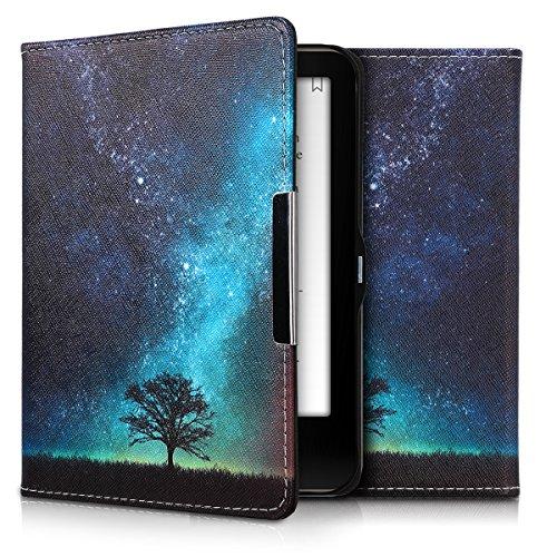 kwmobile Hülle kompatibel mit Tolino Vision 1/2 / 3/4 HD - Kunstleder eReader Schutzhülle Cover Case - Galaxie Baum Wiese Blau Grau Schwarz