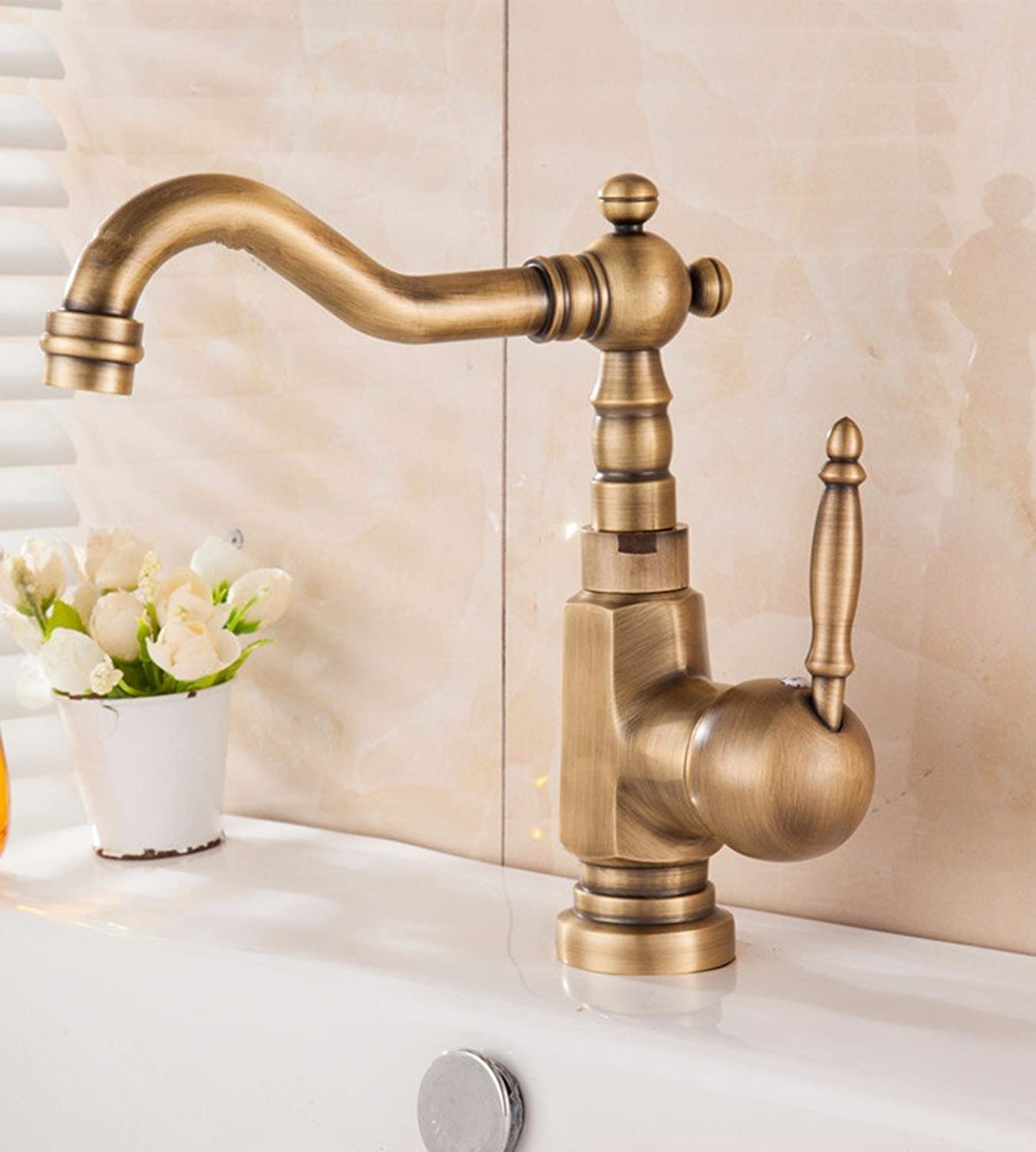 Hlluya Professional Sink Mixer Tap Kitchen Faucet Copper basin bathrooms, hot and cold, Single Hole, Water faucets, 1