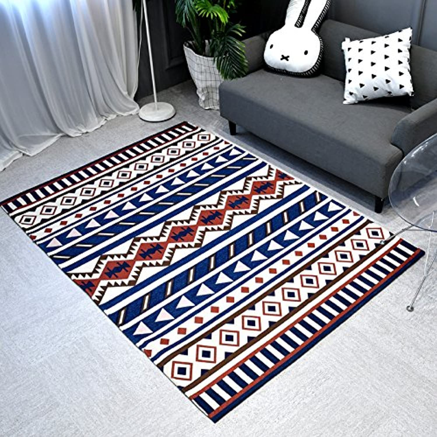 Nordic doormat geometric style, living room carpet, rectangular tea table sofa bedroom, skid proof and dirty proof.-B-120x180cm(47x71inch)