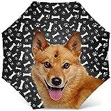 Paraguas de diseño para Perros con Estampado de patrón de Perro Spitz finlandés - Paraguas Plegable de Viaje a Prueba de Viento Paraguas de Golf - Grandes Regalos para Perros