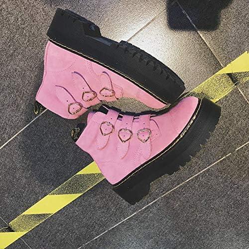 ZHRUI Chaussures à Talons pour Les Femmes AiHommest Les Chaussures Martin Bottes Boucle Plate-Forme épaisse Chaussures Hautes pour Femmes Chaussures Roses (Couleuré   35, Taille   Rose)