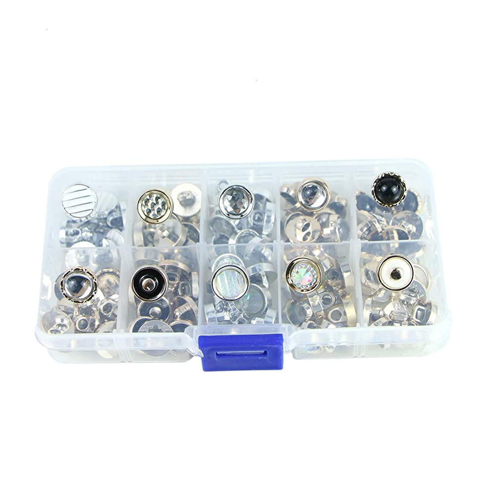 Monrocco 100 Pieces Round Pearl Resin Buttons for Crafting Sewing Scarpbooking Scarf and Clothes, Storage Box Included