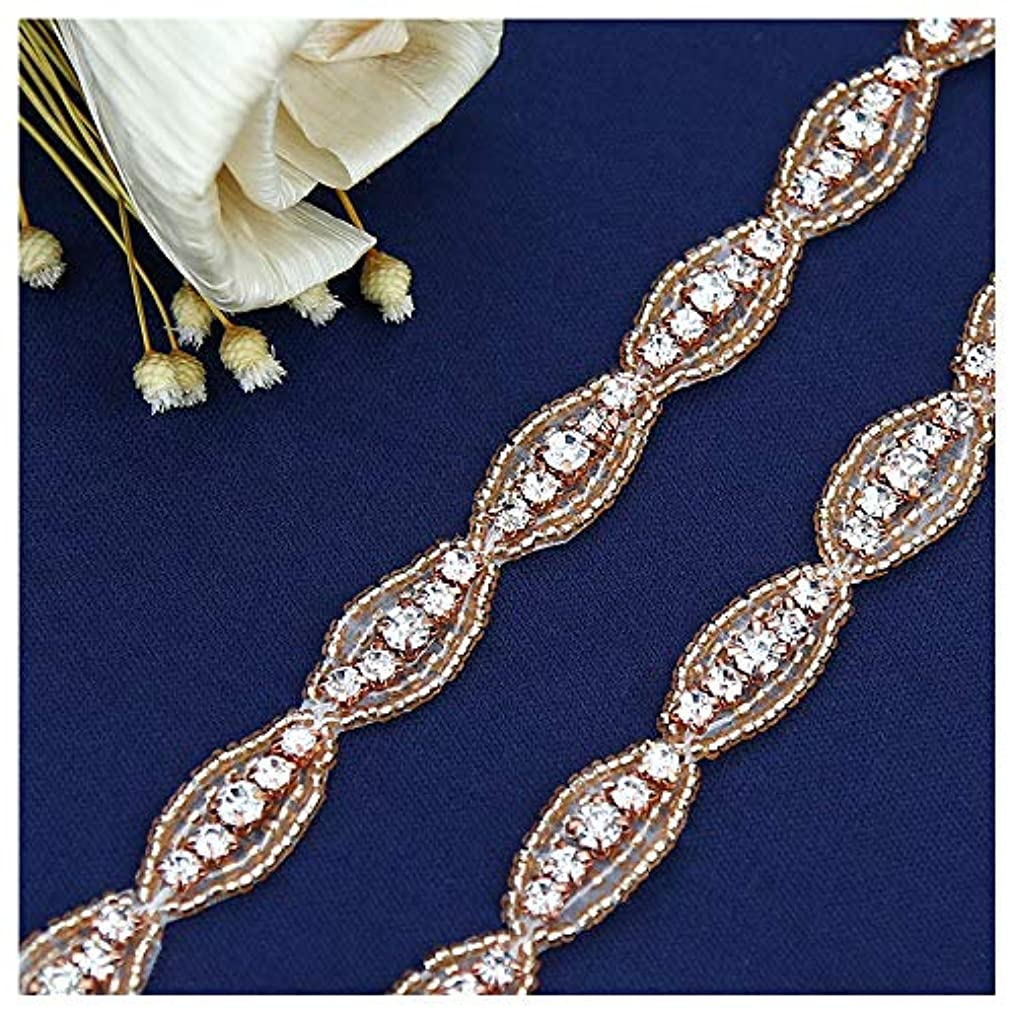 QueenDream Rose Gold Crystal Sashes Bridal Belt Sashes Wedding Belts Sash for Wedding-1Yard