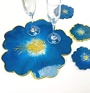 Resin Coaster Molds,4 Pcs Geode Agate Petals Shape Coaster Molds for Making Serving Plate, Faux Agate, Cup Mats, Home Decor