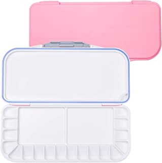 18-Well Premium Watercolor Paint Palette, Travel Portable Folding Paint Palette Box with 1+2 Mixing Areasfor Watercolor, Acrylic & Oil Paint - Nice Gift for Kids, Adults & Artists (Pink)