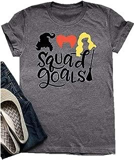 Women Sanderson Sisters Squad Goals T-Shirt Halloween Hocus Pocus Cute Funny Graphic Shirt Top
