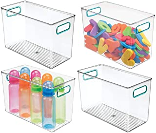 mDesign Deep Storage Organizer Container Bin with Handles for Kids Supplies in Kitchen, Pantry, Nursery, Bedroom, Playroom - Holds Snacks, Bottles, Baby Food, Toys - 4 Pack - Clear/Blue