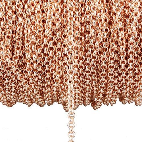 Catena intrecciata in metallo placcato oro rosa, non sbiadisce, per creare gioielli fai da te, braccialetti, collane 3.2mm O-type chain