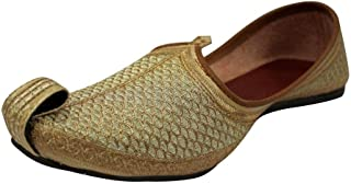 Punjabi Jutti for Mens Gold Khussa Shoes Ethnic Jutti Indian Shoes Wedding Shoes