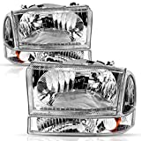 AUTOSAVER88 Headlight Assembly Compatible with 1999-2004 Ford F250 F350 F450 F550 Super Duty Chrome Housing Clear Lens w/Signal Lamps