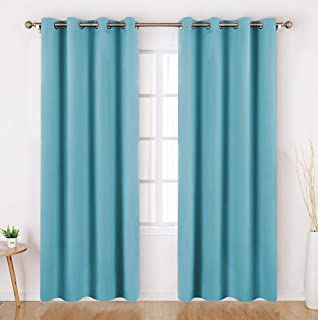HOMEIDEAS Teal Blue Blackout Curtains Wide 52 X 84 inches Long Set of 2 Panels Room Darkening Curtains/Drapes, Thermal Insulated Grommet Window Curtains for Bedroom & Living Room