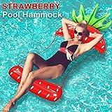 Camlinbo Adult Swimming Pool Float Water Hammock Lounger, Multi Purpose Comfortable Inflatable Water Float Pool Lounge, Pineapple Strawberry Swiming Pool Float Hammock