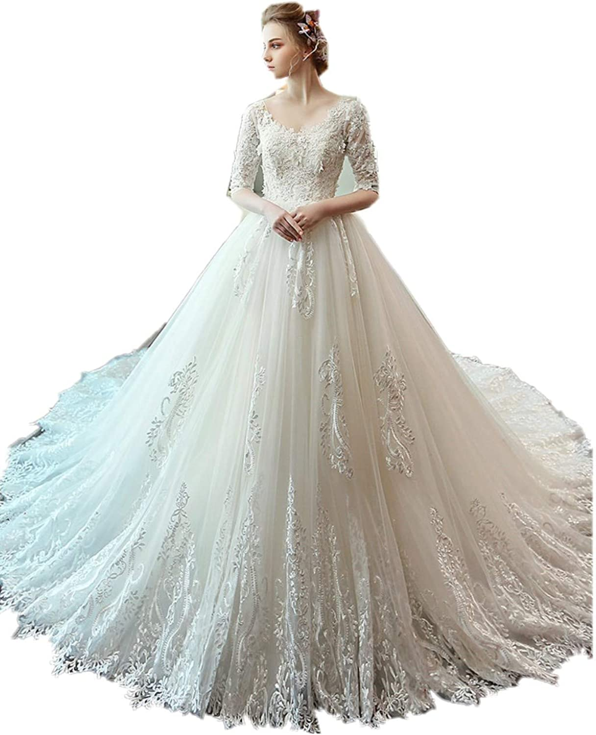 Darcy74Dulles Women's Long Sleeves White Ball Gown Bridal Wedding Gowns Tulle Appliques Dresses Sparkly