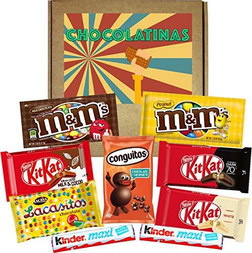 Caja de Chocolatinas con Kitkat, Lacasitos, Kinder, M&M, Conguitos, para Regalar en Cumpleaños, Aniversario o Navidad. Regalo de Chocolates Surtidos.