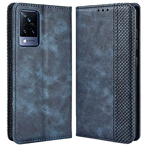 DOINK Retro Klapp Hülle für VIVO V21 5G, Premium PU Leder Handyhülle mit Kartenfächer & Geldbeutel - Blau