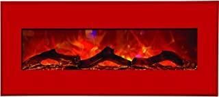 Amantii Advanced Series Wall Mount/Built-In Electric Fireplace with Candy Apple Red Steel Surround, 43 Inch (WM-BI-43-5123-CANDYAPPLERED)