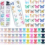 96 Pieces 3D Acrylic Butterfly Charms and Cute Bear Resin Nail Art Decorations Set, Includes 60 Pieces Crystal Bear Shaped Rhinestones and 36 Pieces Acrylic Butterfly Nail Charms for DIY Nail Art