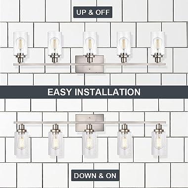 WINSHEN 40-Inches Length Bathroom Vanity Lighting Fixtures Over Mirror in Brushed Nickel, 5-Lights Industrial Sconce Wall Lam