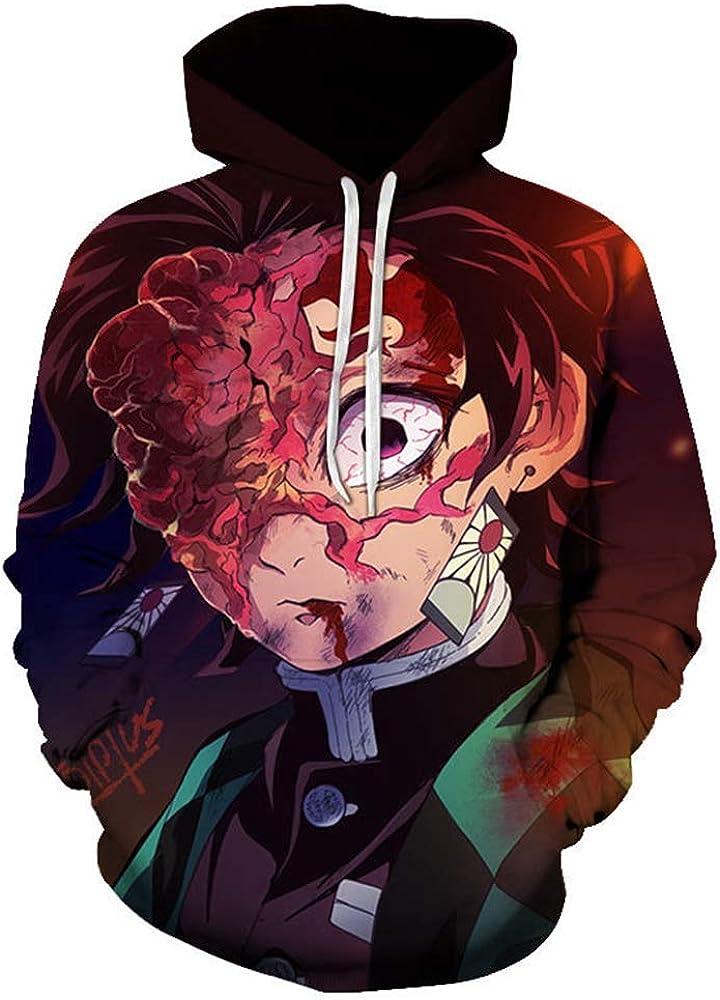 Luc1fer Men's Demon Slayer Novelty 3D Anime Print Hoodies Pullov