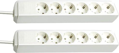 Brennenstuhl Eco-Line 6-voudige stekkerdoos (stekkerdoos met kinderbeveiliging en 1,5 m kabel) wit (wit, 2 stuks)