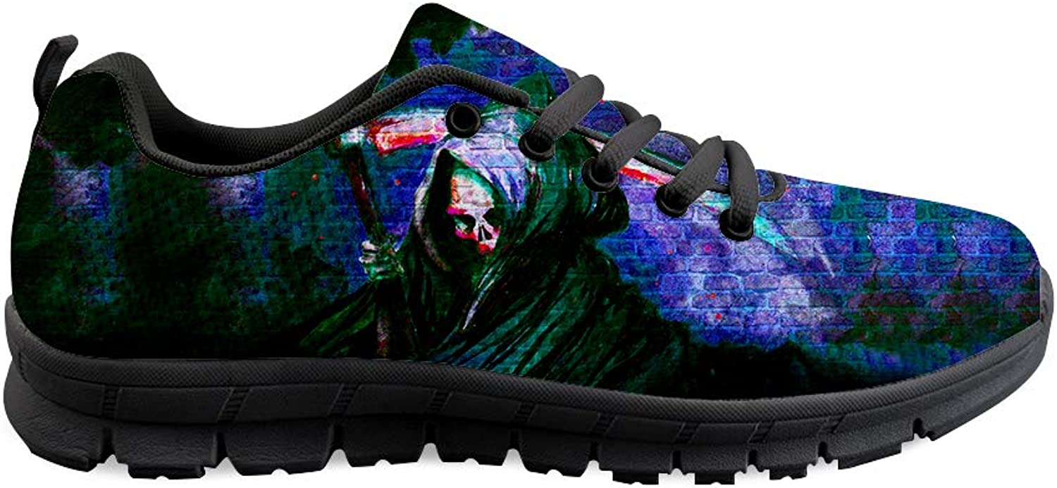 Owaheson Lace-up Sneaker Training shoes Mens Womens View of Skull Grim Reaper's Back