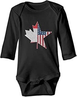 KIDDDDS Baby's North American Connection USA & Canada Long Sleeve Romper Onesie Bodysuit Jumpsuit